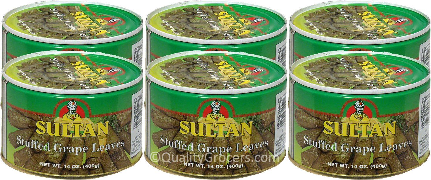 Sultan Stuffed Grape Leaves, 14 Ounce Each, Pack of 6 by Sultan