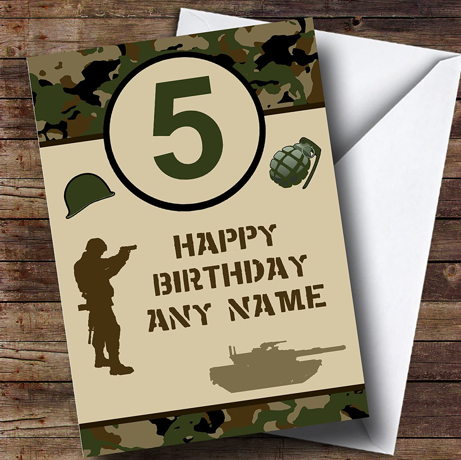 PERSONALISED Toy Soldiers Army Birthday card A5 ANY NAME AGE GREETING