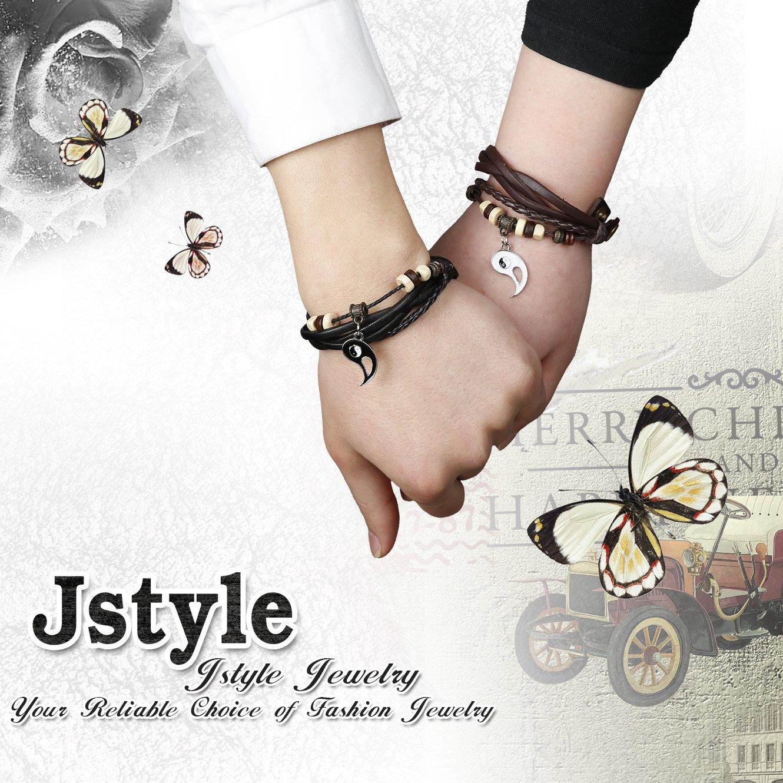 Jstyle Yin Yang Couples Necklace Bracelets for Women Mens Distance Leather Beaded Bracelet Adjustable 3Sets by Jstyle (Image #7)