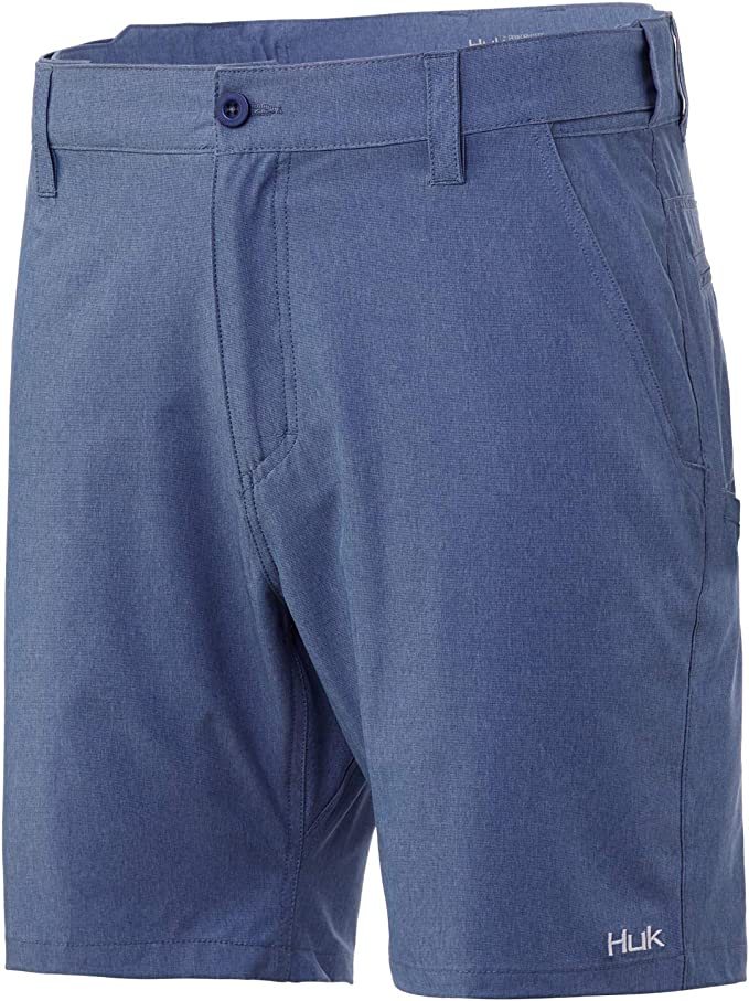Sun Protection HUK Mens Fine Lines Heathered 20 Performance Fishing Shorts with UPF 30