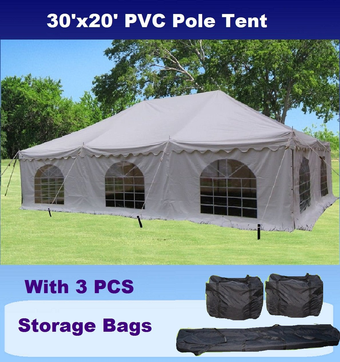 30'x20' PVC Pole Tent - Heavy Duty Wedding Party Canopy Shelter - with Storage Bags - By DELTA Canopies