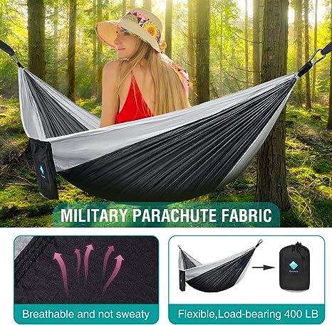 CozyHoliv Camping Hammock 210D Nylon Hammock Swing for Backyard /& Garden 55W108L Single Hammocks Portable Parachute for Outdoor Hiking Travel Backpacking Black//Gray