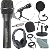Audio-Technica AT2005USB Cardioid Dynamic USB/XLR Microphone Podcasting Kit Over-Ear Headphones + Pop Filter + Adapter + Fibertique Cloth + More