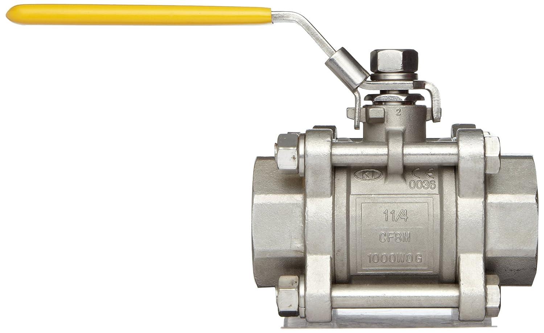 Merit Brass Stainless Steel 316 Ball Valve Three Piece Lever 1 Socket Weld 1 Socket Weld KSWV310FP-16 Full Port