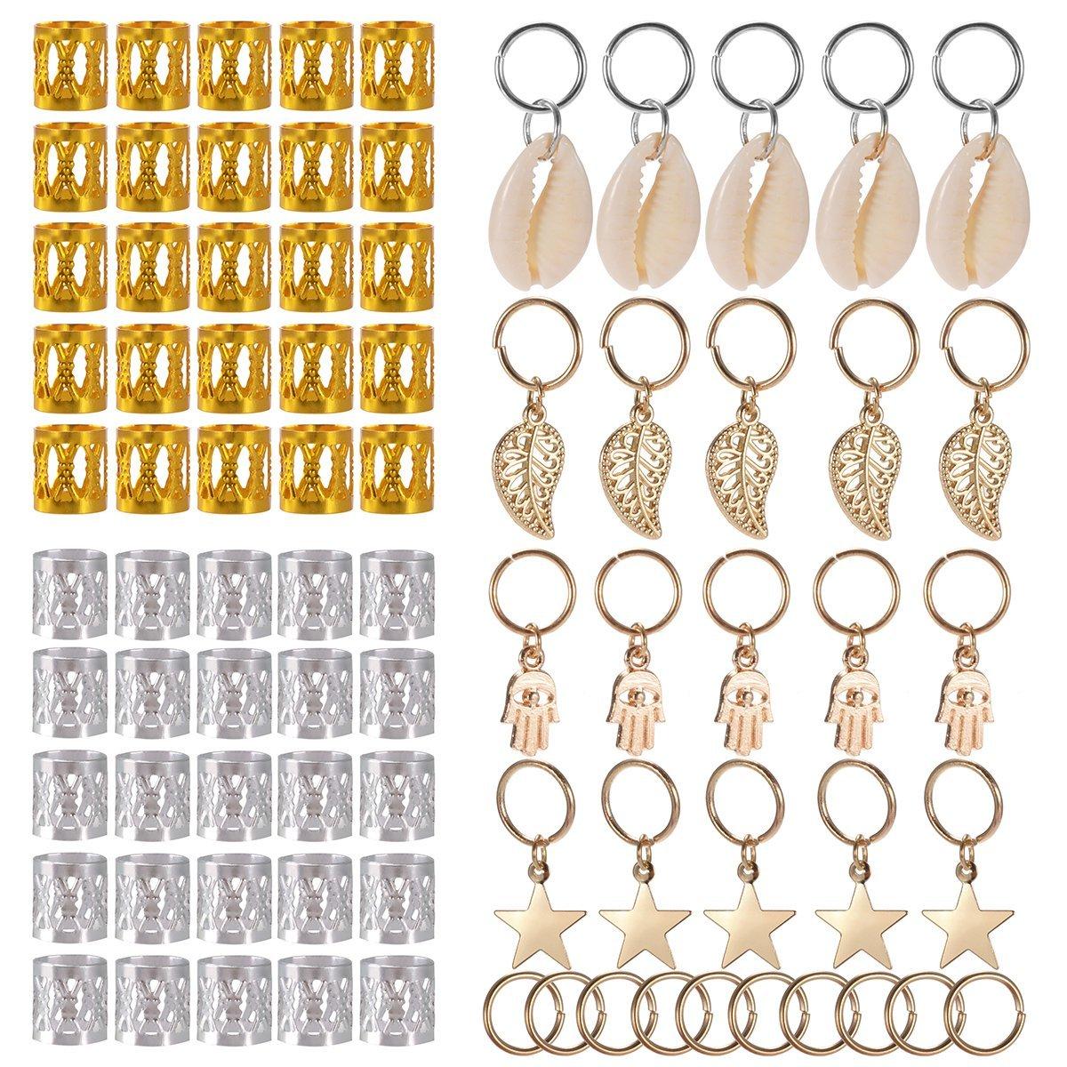 10x Metal Dreadlock Hair Rings Cuffs Beard Hair Decors Jewel Beads Pendants