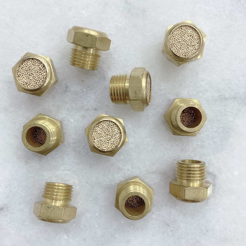 Brass Body MacCan Pneumatic BSLM-N3 Sintered Bronze Exhaust Flat Head Muffler 3//8 NPT Thread Pack of 10
