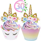 ecoZen Lifestyle Unicorn Cupcake Toppers and Wrappers Decorations (30 of Each) - Reversible Rainbow Cup Cake Liners with…