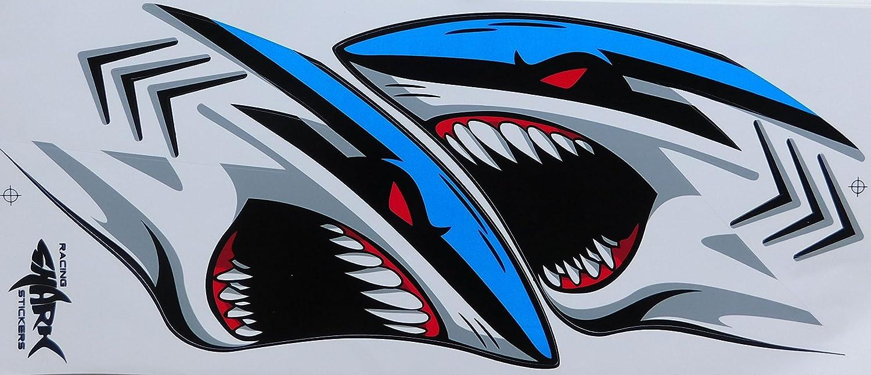 DD Hai Shark Grosse Flammen blau Sticker Aufkleber Folie 1 Blatt 350 mm x 150 mm wetterfest Motorrad Fahrrad Skateboard Auto