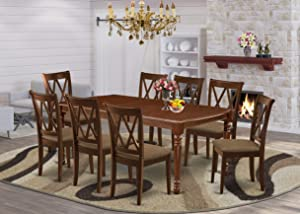 East West Furniture DOCL9-MAH-C 9-Piece dining room set Mahogany finish-A Butterfly Leaf and 4 Legs breakfast table & 8 Double X-Back kitchen chairs
