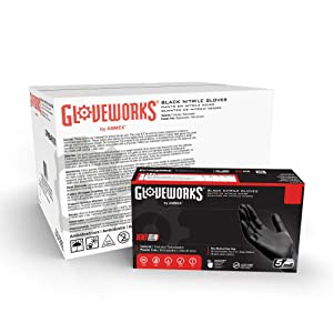 GLOVEWORKS Industrial Black Nitrile Gloves, Case of 1000, 5 Mil, Size Medium, Latex Free, Powder Free, Textured, Disposable, Food Safe, GPNB44100