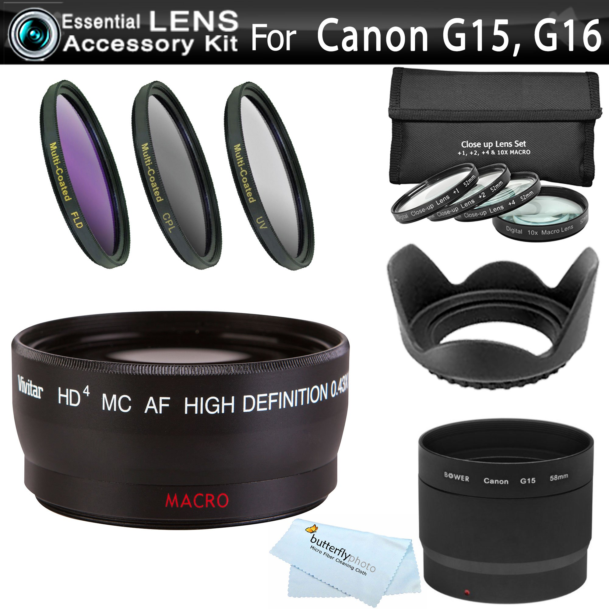 Essential Lens Kit For Canon PowerShot G15, G16 Digital Camera Includes Necessary Replacement LA-DC58L Adapter + 58mm Wide Angle Lens + 58MM Close Up Lens Kit Includes +1 +2 +4 +10 + 3pc Filter Kit ++ by Butterfly