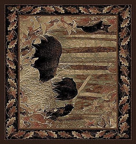 Rug Empire Rustic Lodge, Bear Cubs Area Rug, 5 3 W X 7 3 L, Black