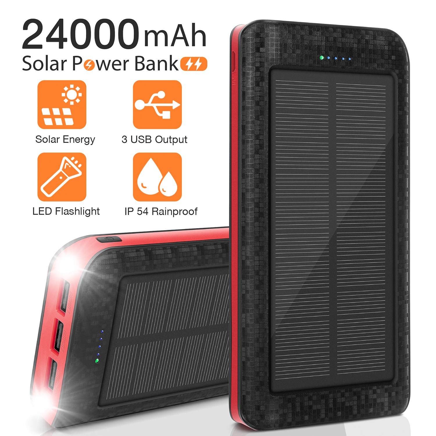 Solar Charger 24000mAh, Portable Phone Charger External Battery Pack Backup Charger, High-Speed 5V/2.1A Tri-USB Output Ports, Flashlight, IPX5 Rainproof for Camping, Travel, Emergency by AMAES