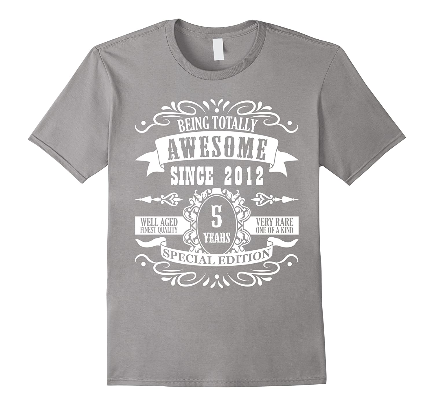 5th Birthday Gift T-Shirt Awesome Since 2012 Tee 5 yr olds-Art