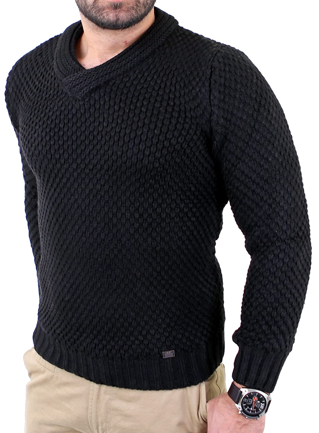 Reslad Men's Vintage Chunky Knit Winter Sweater RS - 3213