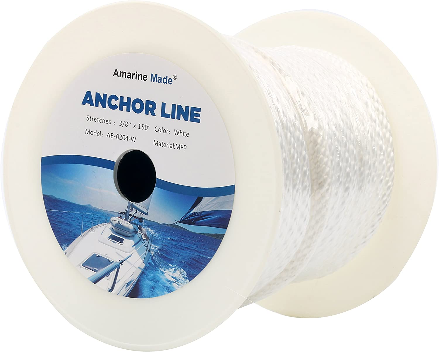 "Amarine Made 3/8 Inch 150FT Premium Solid Braid MFP Anchor Line Braided Nylon Anchor Rope/Line with Thimble (3/8""-150' White)"