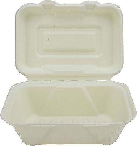 Caja de merienda de compartimiento individual de bagazo - 185 x 130 x 70mm - Paquete de 50 cajas de menú desechables, biodegradables, compostables, súper rígidas - Pulpa de caña de azúcar natural: Amazon.es: Hogar