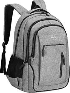 Veballensty 17.3 Inch Travel Laptop Backpack, Anti-Theft College School Computer Bookbag with USB Chargering Port Fits Women& Men for School Travel Business (Light Grey)