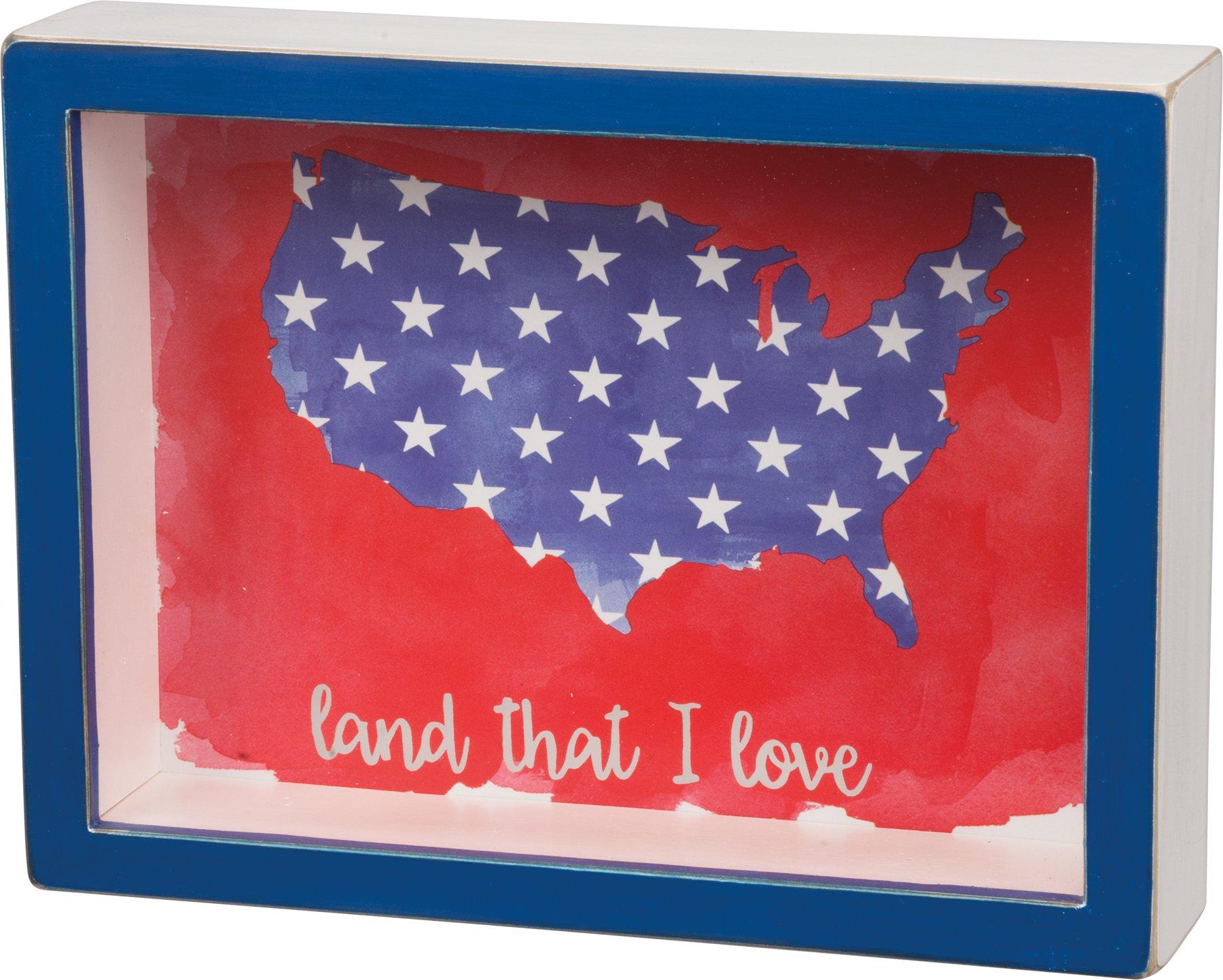 PBK Patriotic Decor - USA Map Land That I Love Shadow Box