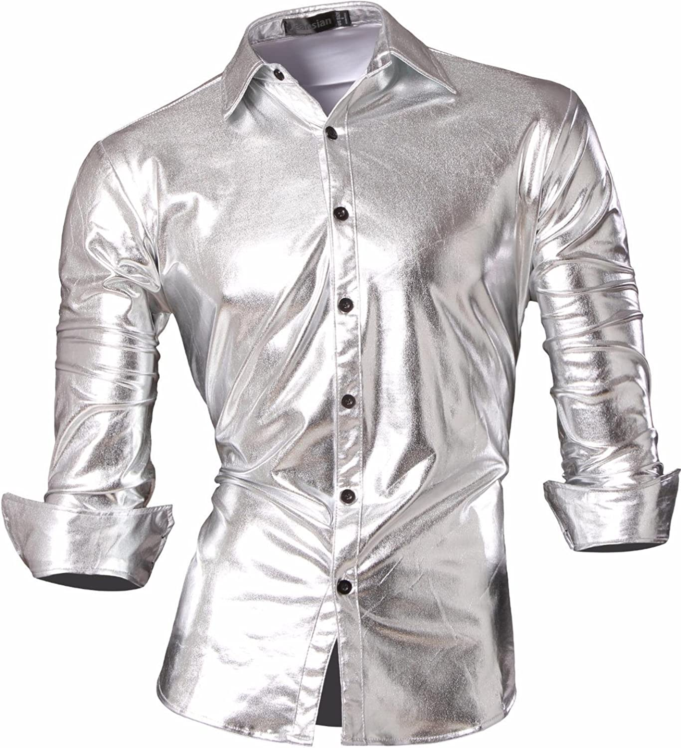 1960s – 70s Mens Shirts- Disco Shirts, Hippie Shirts jeansian Mens Fashion Bronzing Bling Shiny Slim Button Down Long Sleeves Dress Shirts Tops Z036 £14.99 AT vintagedancer.com