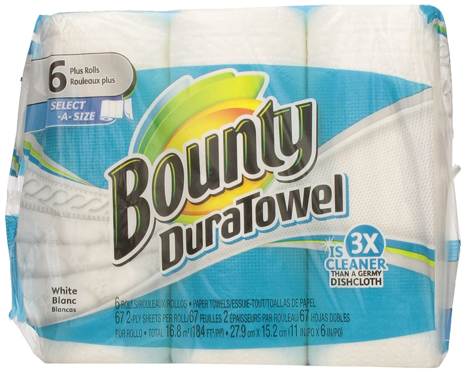 Amazon.com: Bounty Duratwl Rl-Twl 2Ply Whi Sas 1/6 Pack 67 S: Health & Personal Care