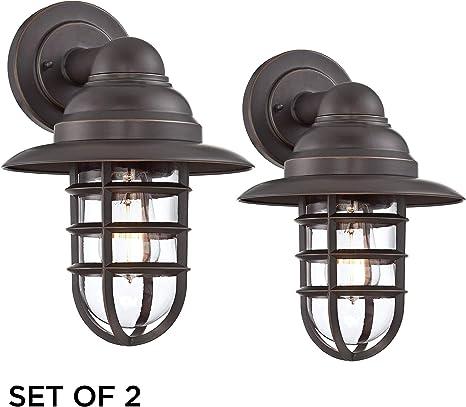 "Nautical Outdoor Wall Light Fixture Black Cage 12/"" Motion Sensor for Deck Porch"