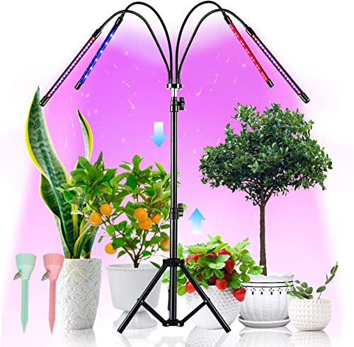 LED Grow Lights with Stand, 4 Heads Floor Plant Growing Lamps for Indoor Plants Growth, 84 LEDs Floor Plant Lights Height Adjustable 15.7-38.7 in, 360 Rotatable Gooseneck, 3 6 12H Timer 4 Modes