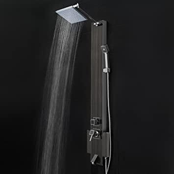 Nice FIREBIRD 48u0026quot; Black Stainless Steel Shower Panel Tower With Rainfall  Shower Head ...