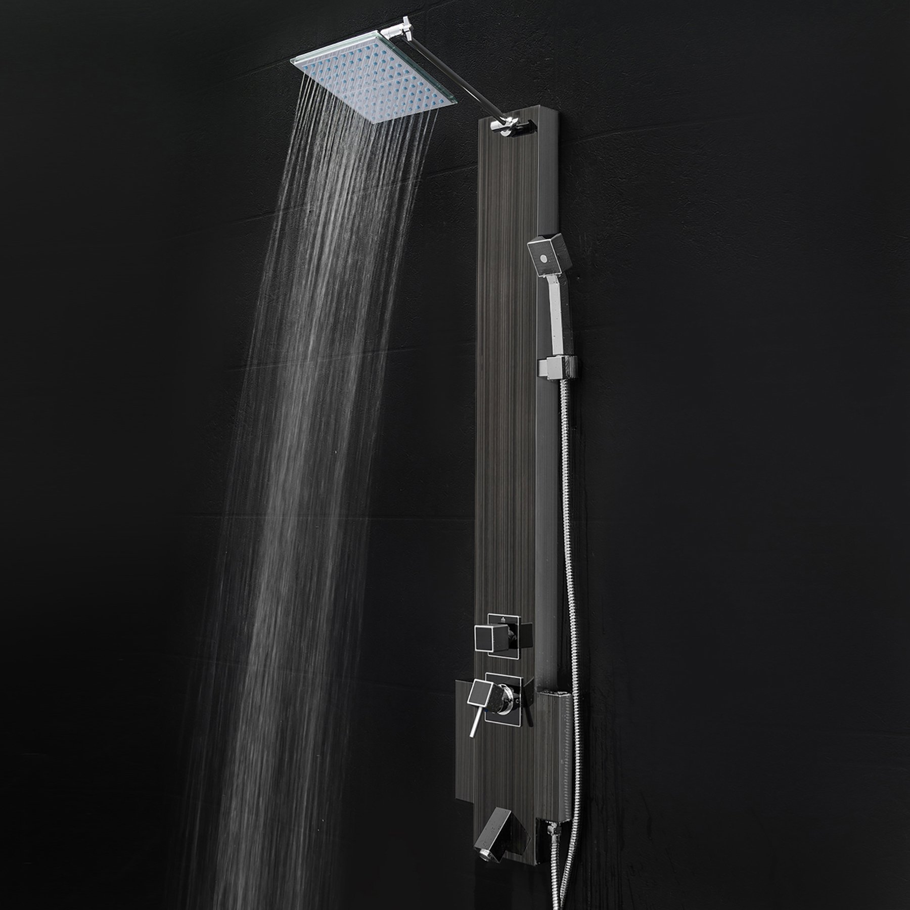 FIREBIRD 48'' Black Stainless Steel Shower Panel Tower with Rainfall Shower Head and Spout
