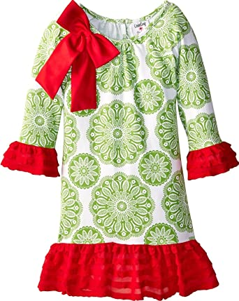 rare editions counting daisies girls festive red green toile size 2t 4t christmas dress