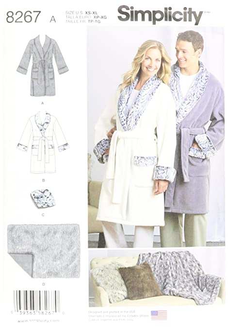 7faf0eae32 Simplicity Pattern 8267 A Misses  Men s and Teen s Robes Blanket and Pillow  Sewing Pattern