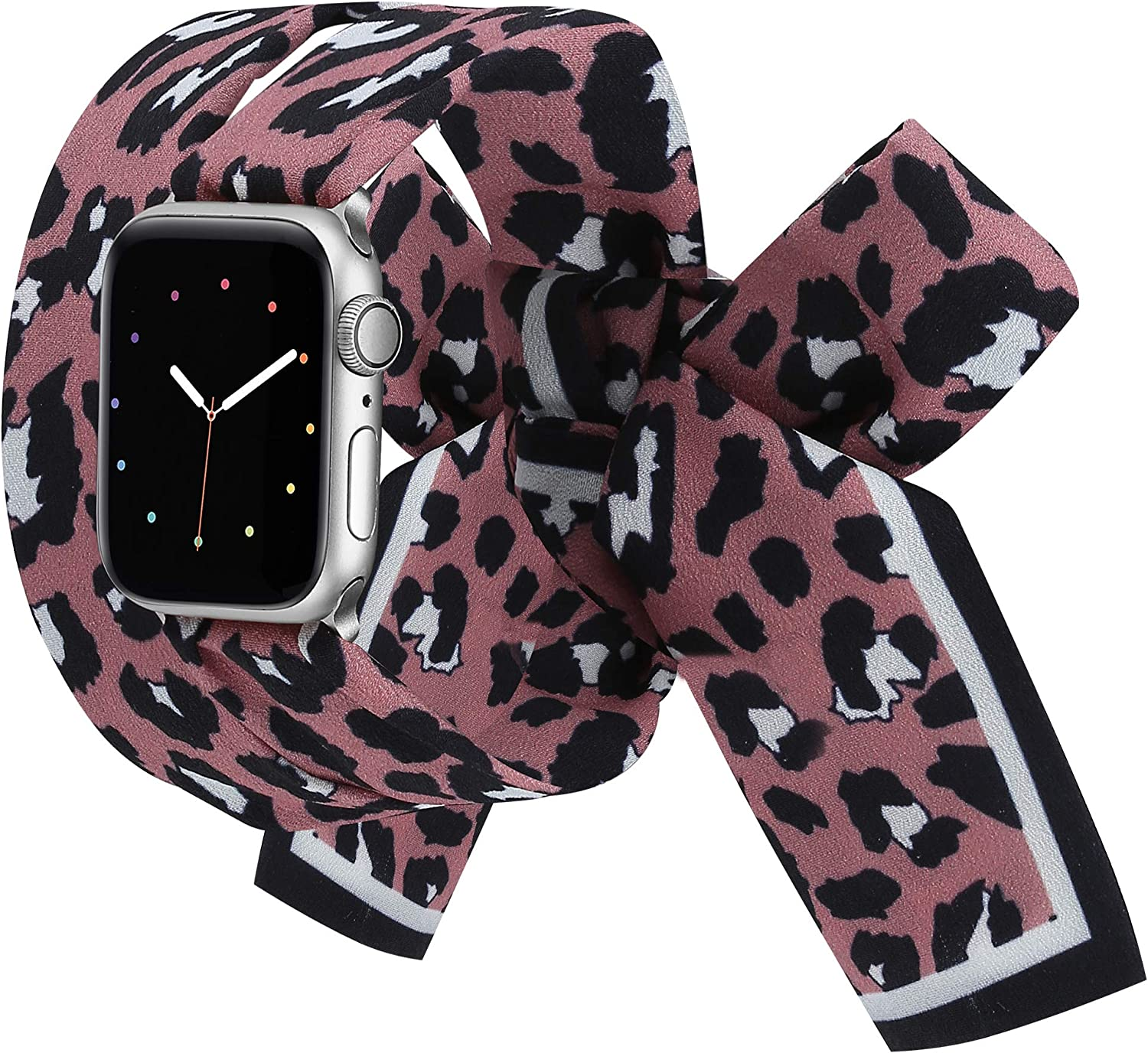 Wearlizer Compatible with Apple Watch Bands Scarf 38mm 40mm for iWatch Band Women Girls Fashion Scarf Replacement Wrist Strap for Apple Watch SE Series 6 5 4 3 2 1 - Pink Leopard
