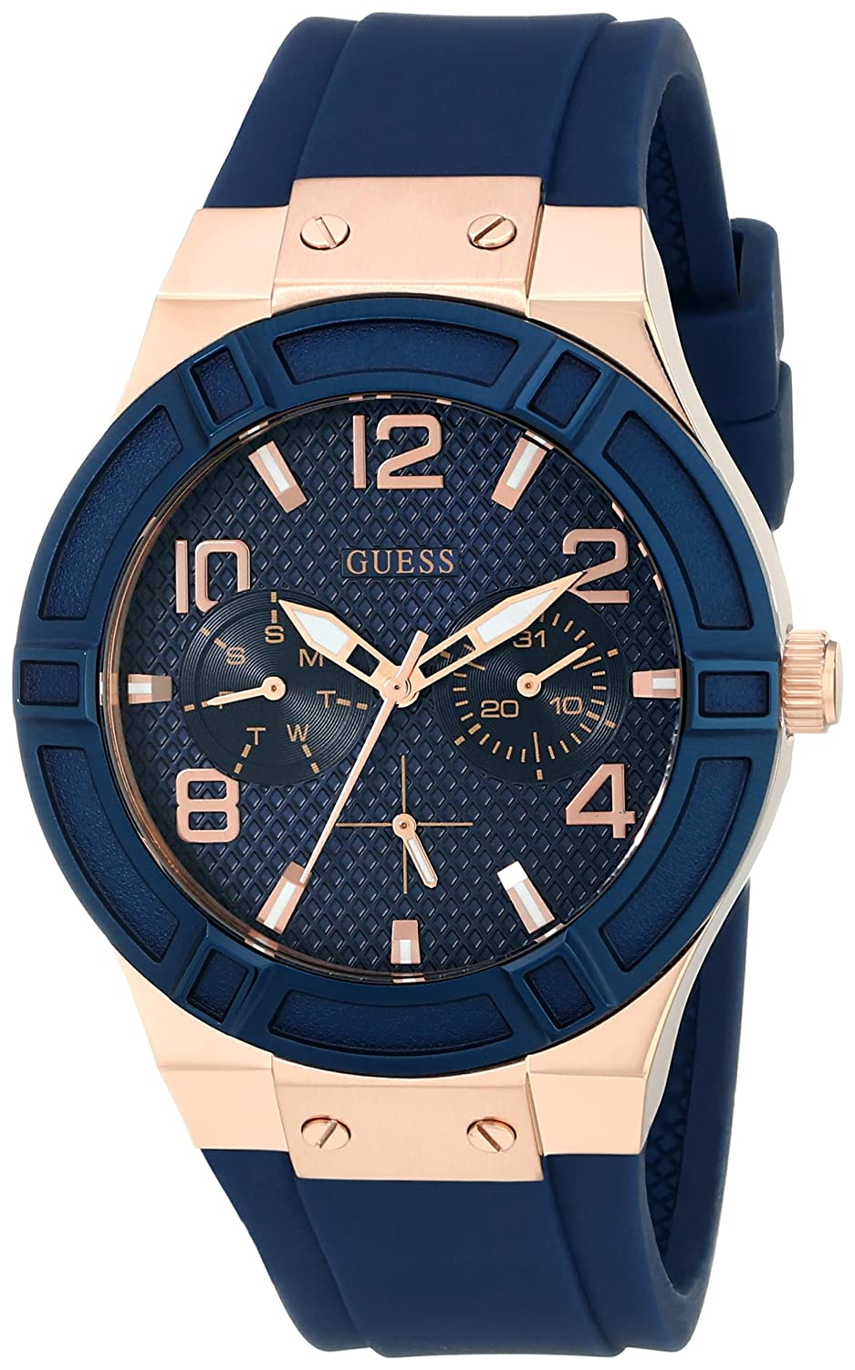 CDM product GUESS Women's U0571L1 Sporty Rose Gold-Tone Stainless Steel Watch with Multi-Function Dial and Blue Strap Buckle big image
