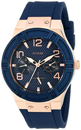 ef9d14b586fbb Amazon.com  GUESS Women s Comfortable Rose Gold-Tone + Iconic Blue ...
