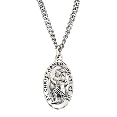 b8c8a4592122a Sterling Silver & Stainless Steel St. Christopher Medallion Necklace