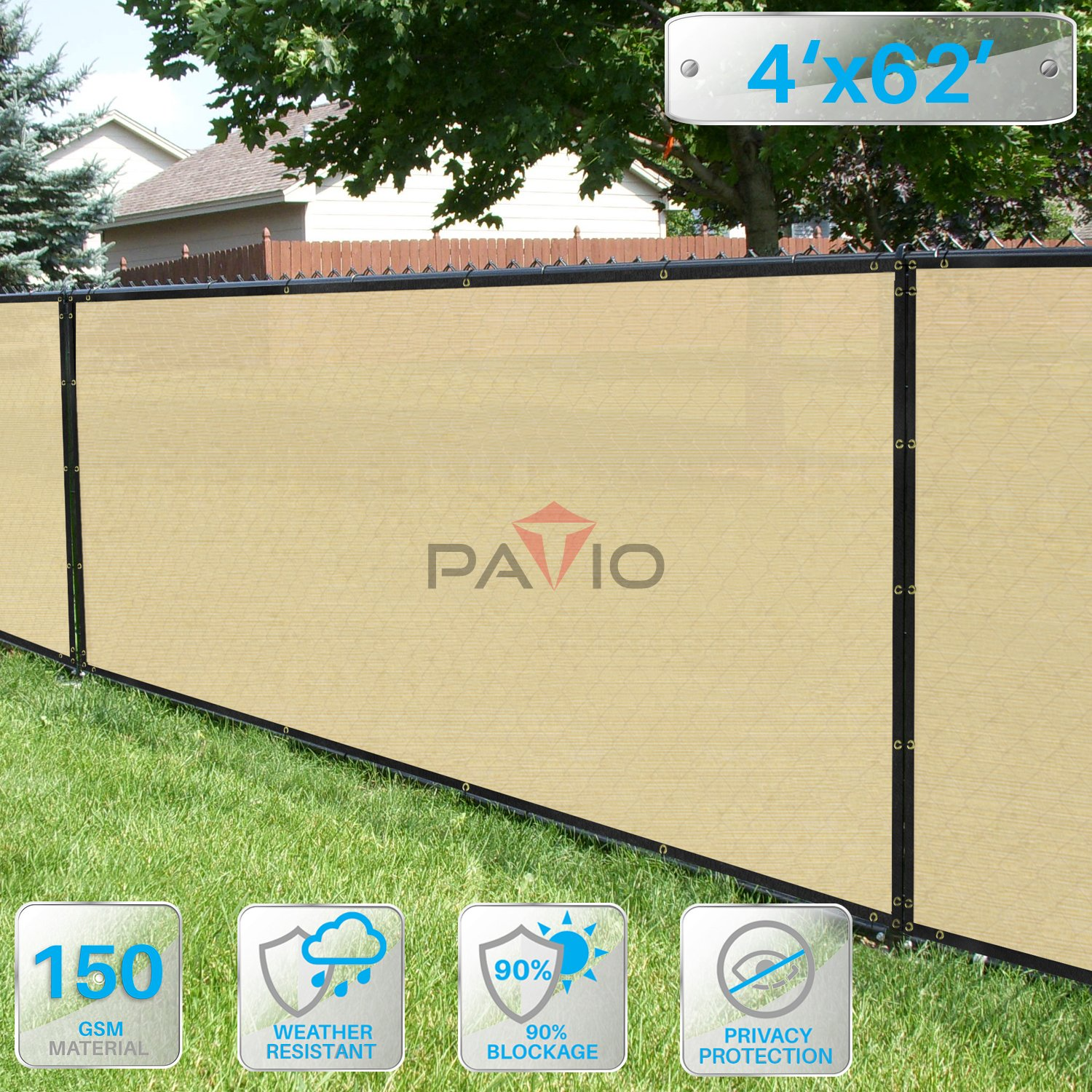 Patio Paradise 4' x 62' Privacy Screen Fence in Beige, Commercial Grand Mesh Shade Fabric with Brass Gromment Outdoor Windscren - Custom