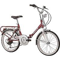 "Cicli Cinzia Vélo 20""Pliable Firenze 6 Vitesses Revo Shift V-Brake Aluminium, Rouge/Blanc, Unisexe–Adulte"