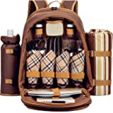 ALLCAMP Picnic Backpack 4 person With Cooler Compartment, Detachable Bottle/Wine Holder, Fleece Blanket, Plates and Cutlery Set (brown)