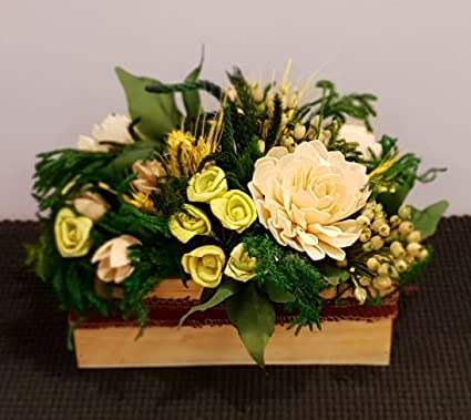 Buy Forestkraft Table Decor Flower Bouquet Decoration Rectangular White Small Online At Low Prices In India Amazon In