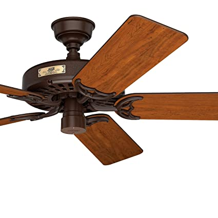 Hunter Fan 52 In Outdoor Ceiling Fan In Chestnut Brown With 5 Cherry Walnut Reversible Fan Blades 7560 Cfm Certified Refurbished