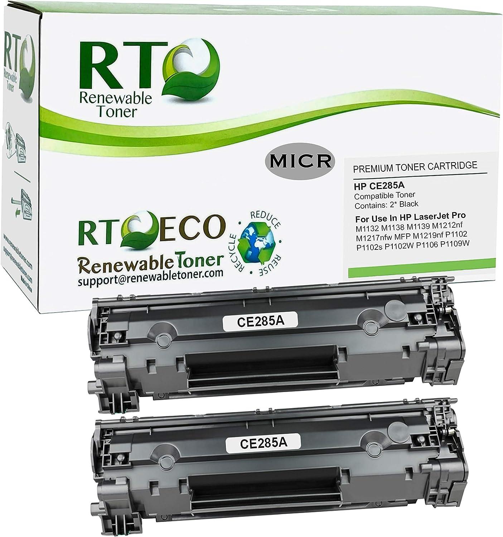 Renewable Toner Compatible MICR Toner Cartridge Replacement for HP 85A CE285A Laserjet M1132 M1138 M1139 M1212 M1217 MFP P1102 P1106 P1109 (Black, 2 Pack)