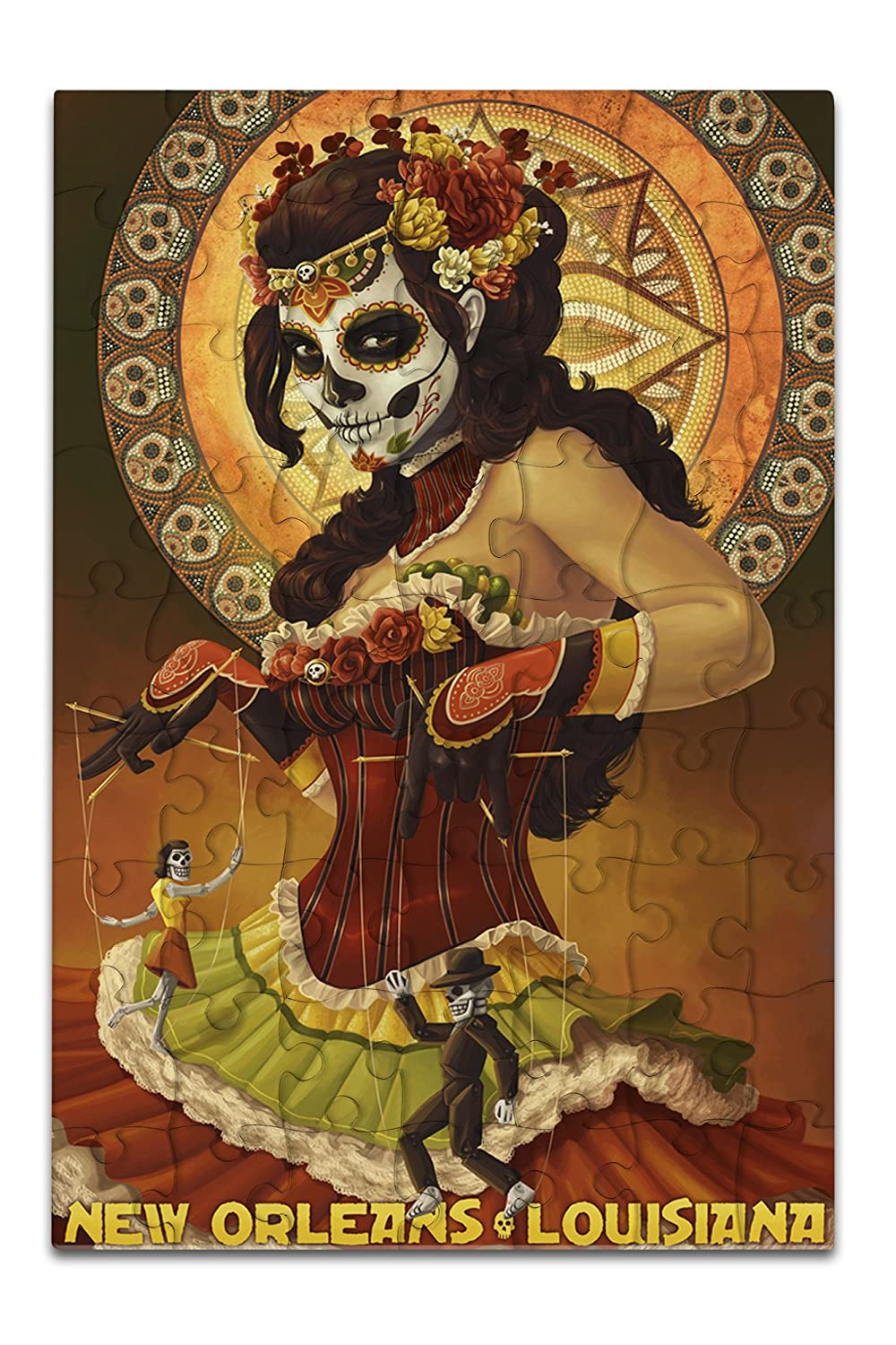 New Orleans, Louisiana - Dia De Los Muertos Marionettes - Day of the Dead (8x12 Premium Acrylic Puzzle, 63 Pieces)