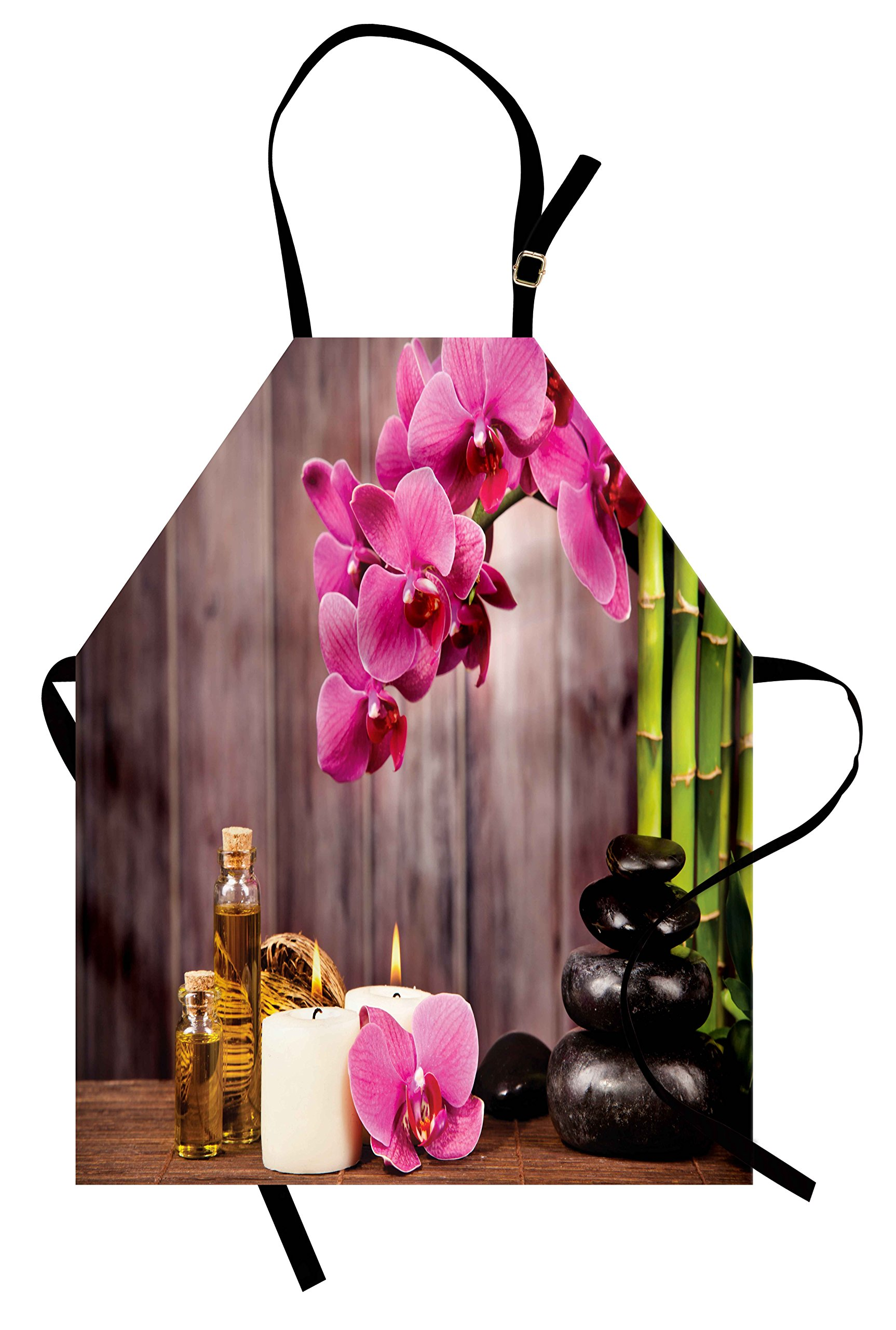 Lunarable Spa Apron, Spa Orchid Flowers Rocks Bamboo Asian Style Aromatherapy Massage Therapy Print, Unisex Kitchen Bib Apron with Adjustable Neck for Cooking Baking Gardening, Pink Green Umber