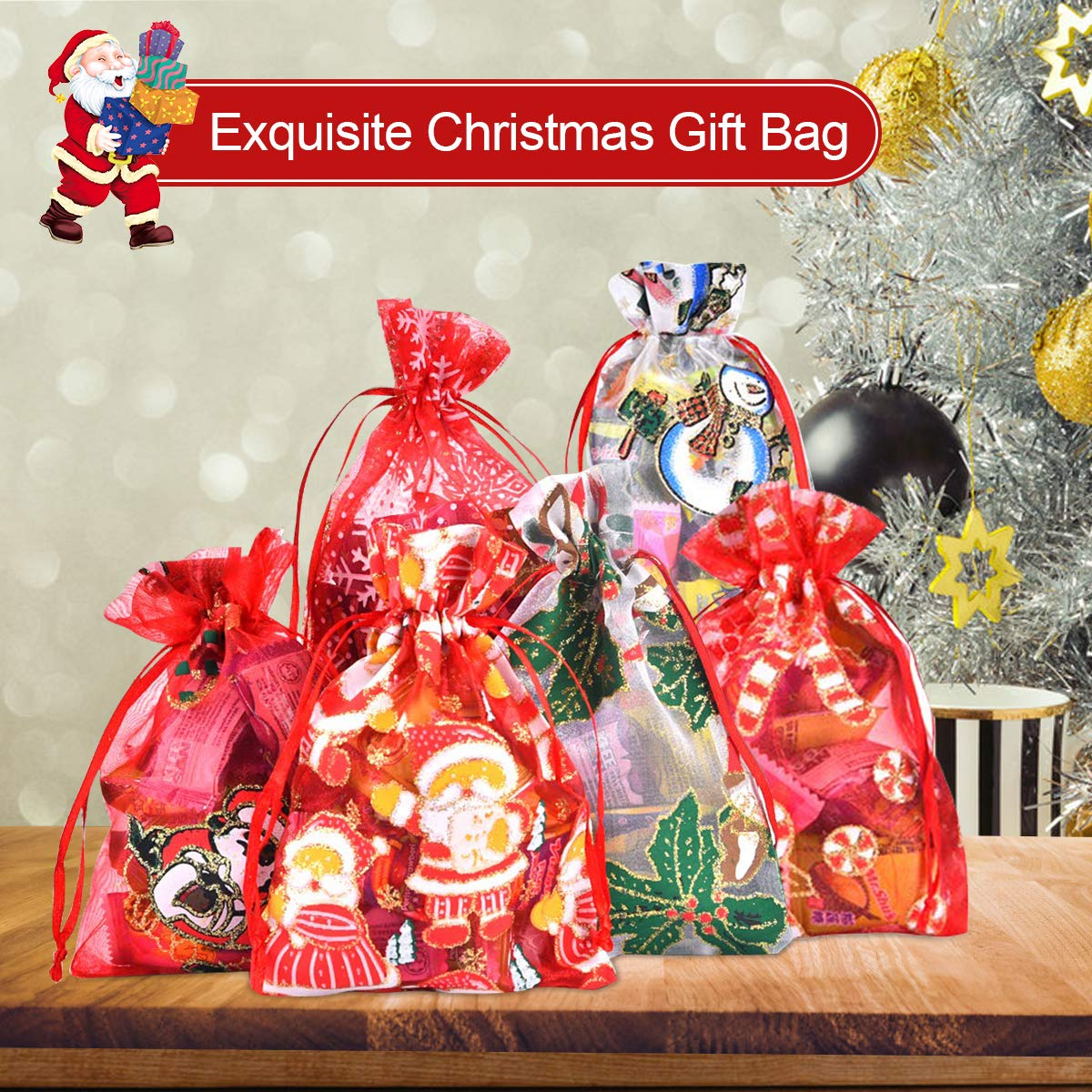 Blanco 4X 6 Pulgadas Bolsas de Regalo de Organza para obsequios Rojo Verde PHOGARY 20 Pack Bolsas de cord/ón navide/ñas