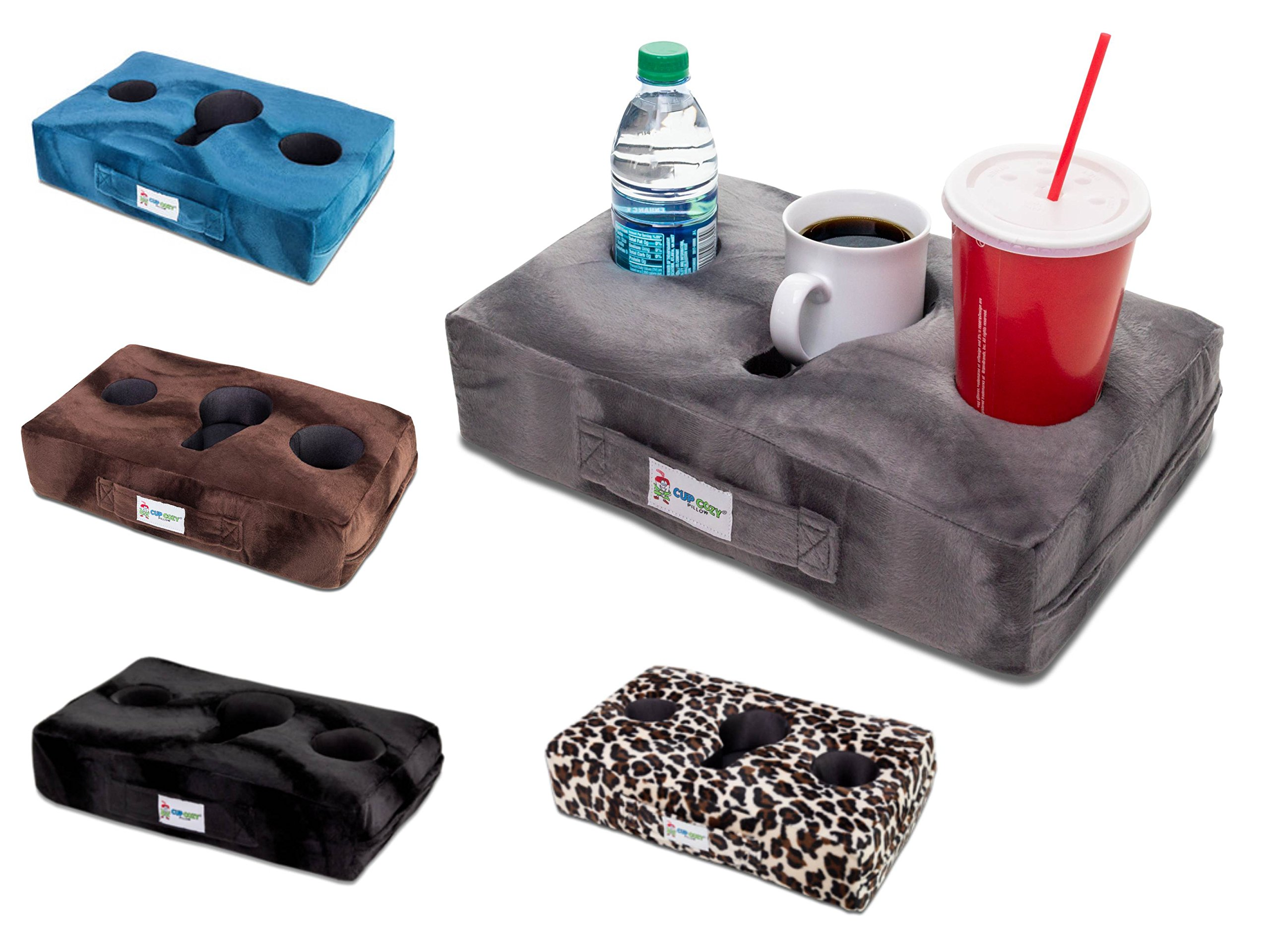 Cup Cozy Pillow (Gray) As Seen on TV-The world's BEST cup holder! Keep your drinks close and prevent spills. Use it anywhere-Couch, floor, bed, man cave, car, RV, park, beach and more! by Cup Cozy Pillow