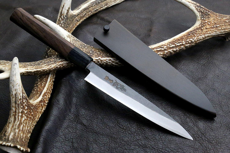 Yoshihiro Aoko(Blue Steel) Kurouchi Petty Utility Chef Knife with Nuri Lacquered Magnolia Saya Cover
