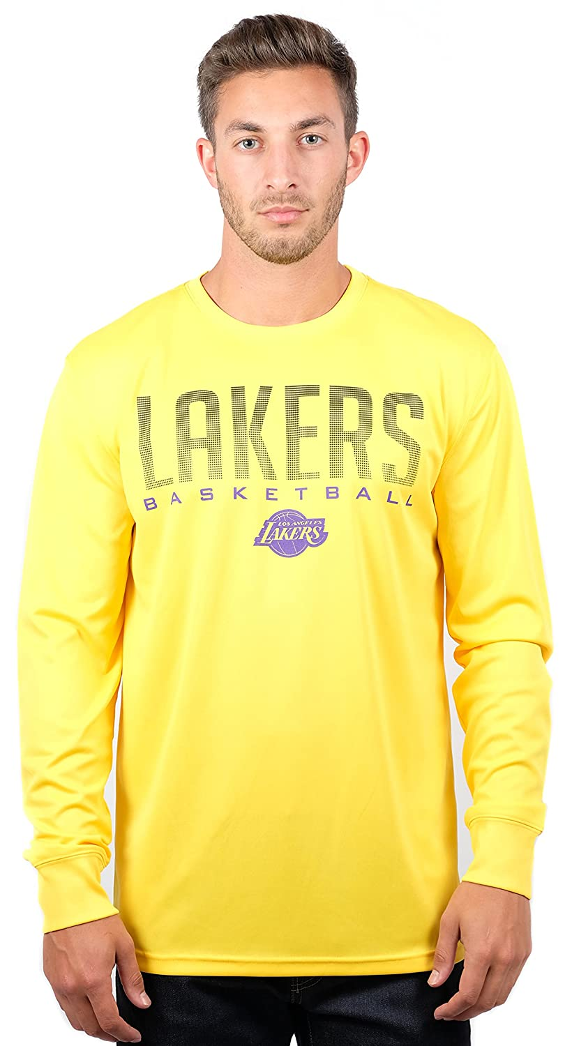 (Los Angeles Lakers, X-Large) - UNK NBA Men's T-Shirt Athletic Quick Dry Long Sleeve Tee Shirt, Team Colour   B076LNPSYZ