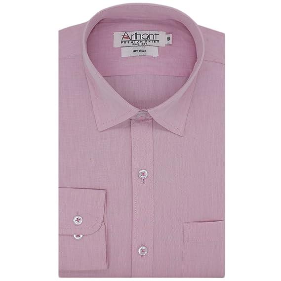 f9e93d31ec6e Colour: Arihant Men's Solid Regular Fit Formal Shirt (AR73391938_Light  Pink_38)