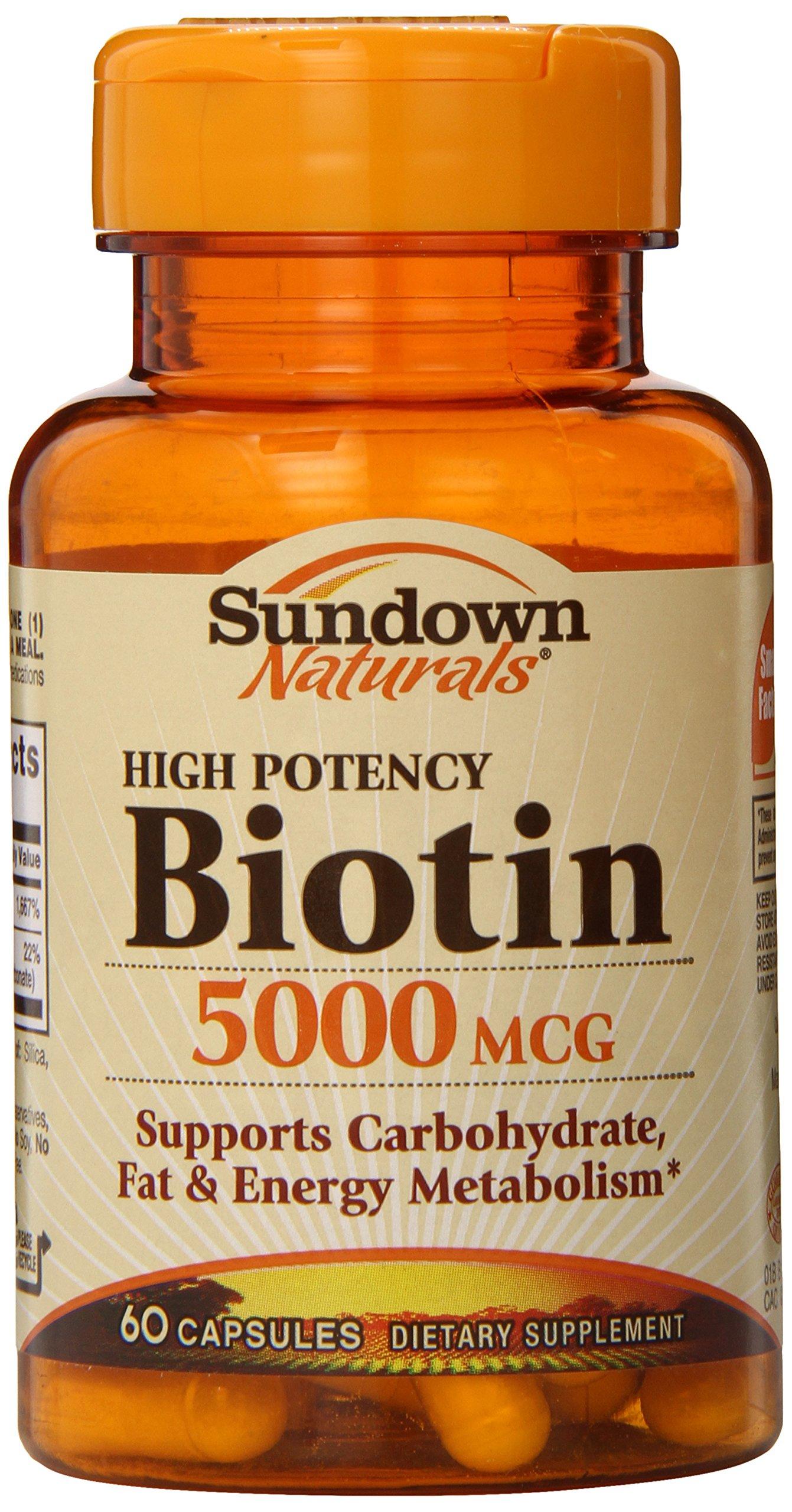 Sundown, Biotin 5000 Mcg Capsules, 60 ct