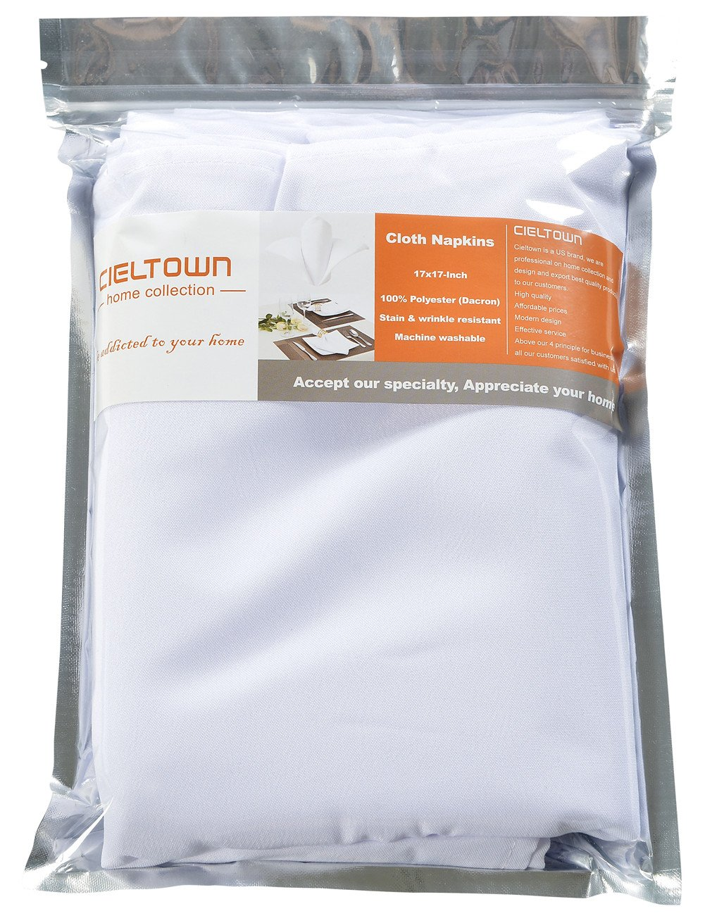 Cieltown Polyester Cloth Napkins 1-Dozen (17 x 17-Inch, white) by cieltown (Image #6)